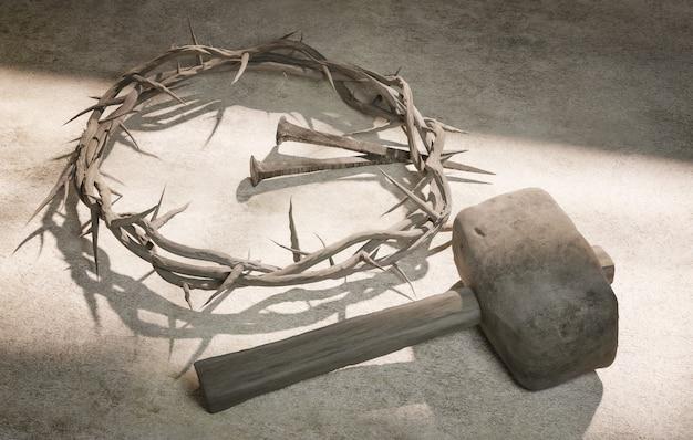 Jésus-christ couronne d'épines clous et rendu 3d de marteau