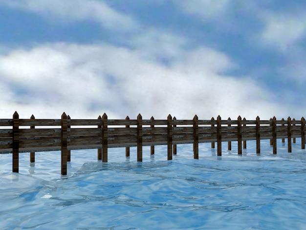 Jetée en bois avec rivière d'eau bleue de fond, surface de l'eau avec des ondulations, rendu 3d