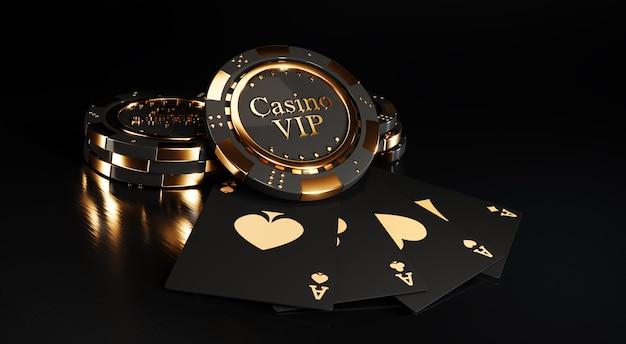 Jetons de casino et cartes à jouer sur fond noir