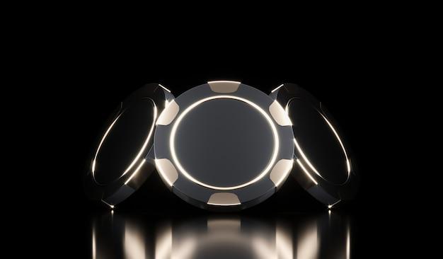 Jetons de casino sur fond noir. fond de casino en ligne. concept de jeu, icône de l'application mobile de poker.