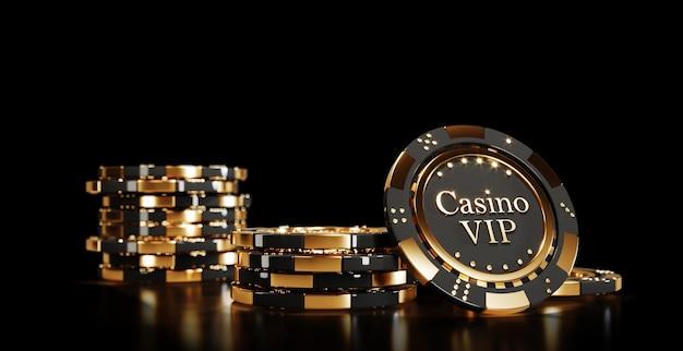 Jetons de poker de casino sur fond noir