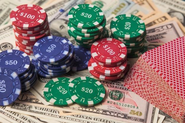 Jetons de poker en dollars