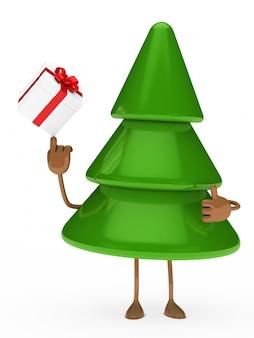 Jeu de l'arbre de noël avec un cadeau