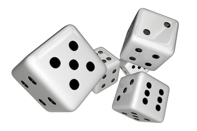 Dés de jeu blancs isolés sur blanc. illustration de rendu 3d.