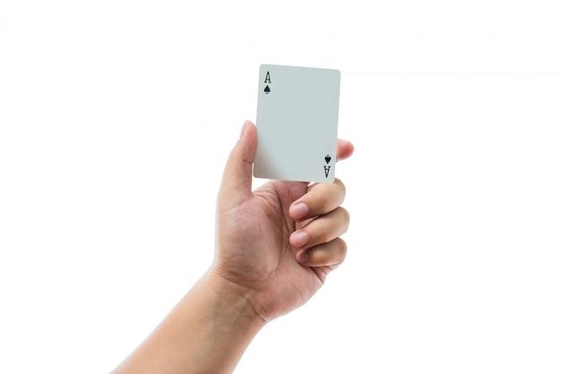 Jeu de cartes à la main isolé sur fond blanc