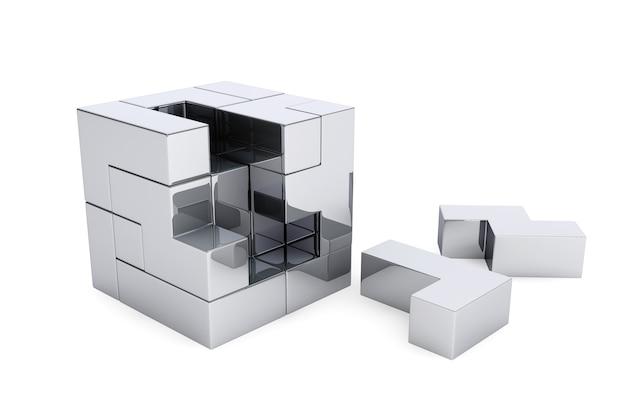 Jeu de casse-tête chrome cube sur fond blanc