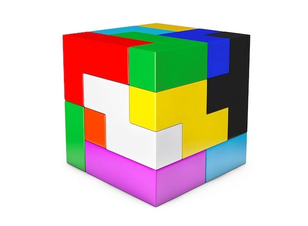 Jeu de casse-tête cube multicolore sur fond blanc