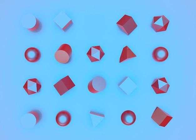 Jeu de couleurs de géométrie abstraite rendu 3d de fond