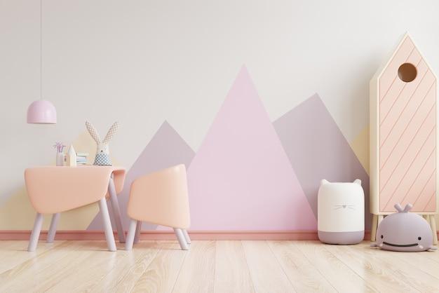 Jeu de couleurs mur dans la chambre des enfants sur le mur de couleurs blanches .3d rendu