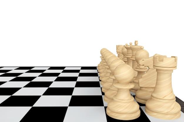 Un jeu d'échecs blanc avec échiquier sur fond blanc