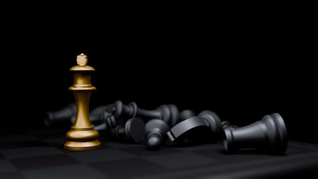 Jeu d'échecs de l'évêque d'or et, fond de commerce des idées stratégie concept