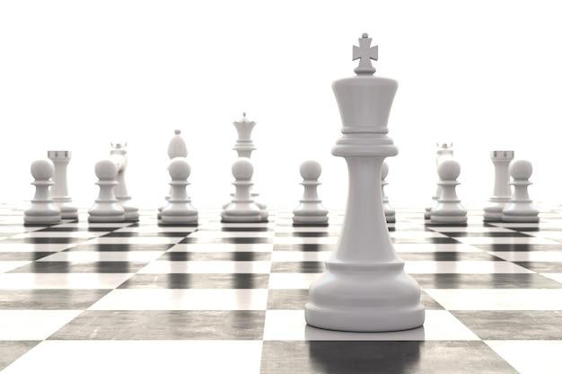 Jeu d'échecs de rendu 3d sur échiquier brillant