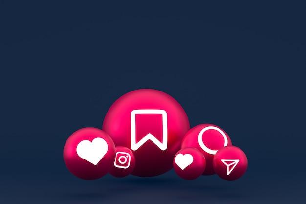 Jeu d'icônes instagram rendu 3d sur fond bleu