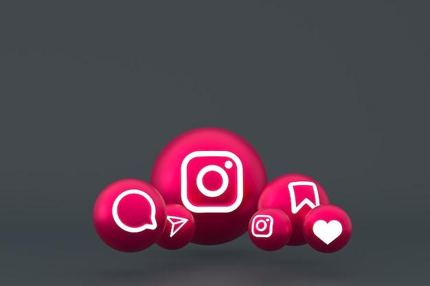 Jeu d'icônes instagram rendu 3d sur fond gris