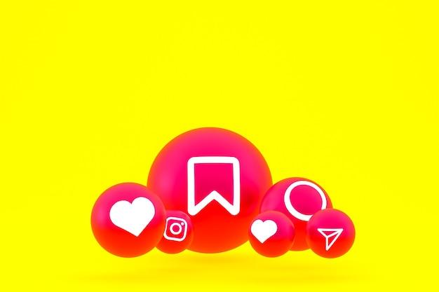 Jeu D'icônes Instagram Rendu 3d Sur Fond Jaune Photo Premium