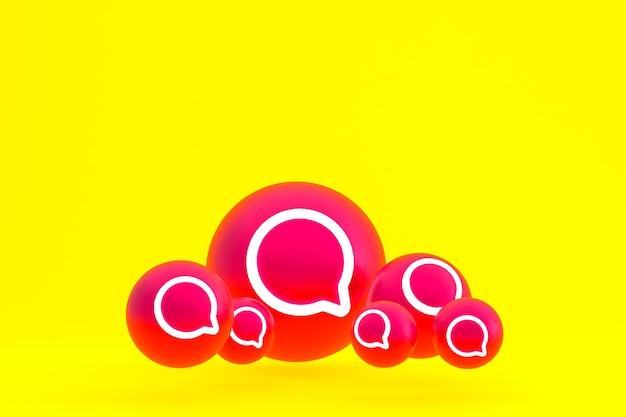 Jeu d'icônes instagram rendu 3d sur fond jaune