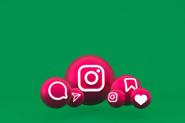 Jeu d'icônes instagram rendu 3d sur fond vert