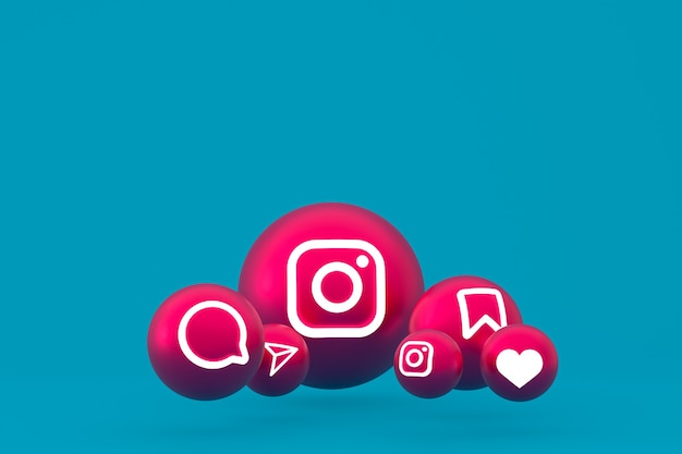 Jeu d'icônes instagram rendu sur bleu
