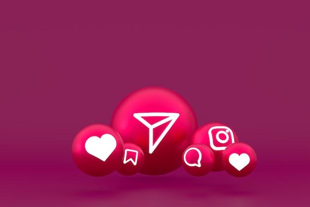 Jeu d'icônes instagram rendu sur rouge