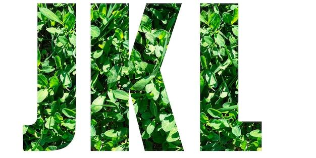 Jeu de lettres de l'alphabet anglais. lettres jkl d'herbe verte isolée sur fond blanc. éléments pour votre conception.