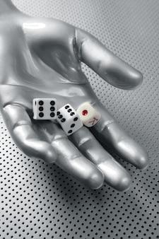 Dés de jeu, métaphore futuriste de la main