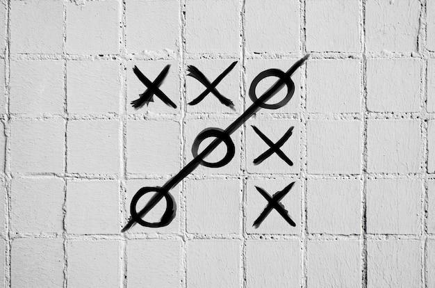 Le jeu des orteils croisés sur un mur de béton de tuiles blanches.