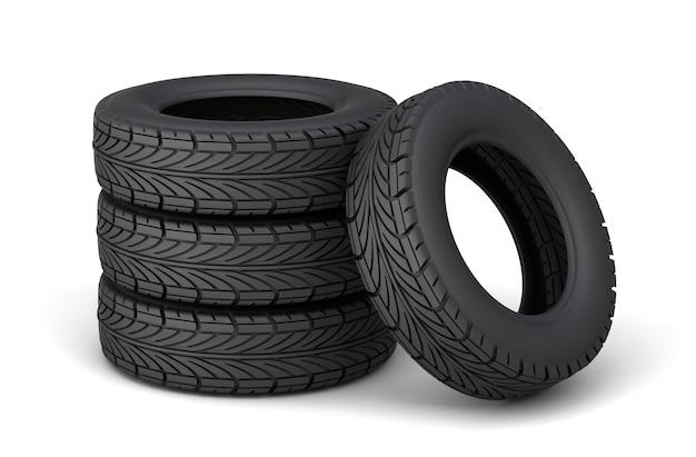 Jeu de quatre pneus. isolé sur fond blanc. rendu 3d.
