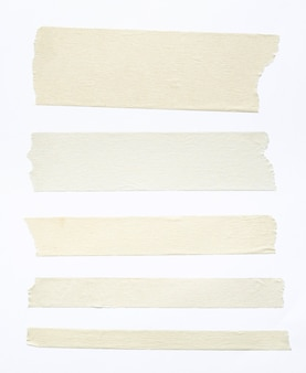 Jeu de ruban adhésif blanc isolé sur fond blanc