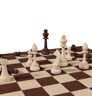 Jeu de société d'échecs concours d'affaires et concept de stratégie d'échecs sur fond blanc bataille pour la victoire