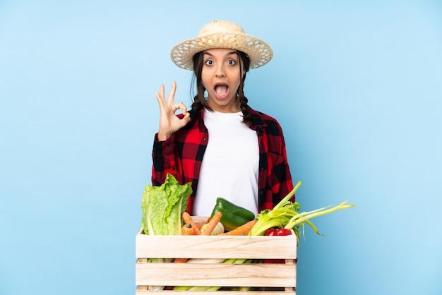 Jeune agriculteur femme tenant des légumes frais dans un panier en bois surpris et montrant signe ok