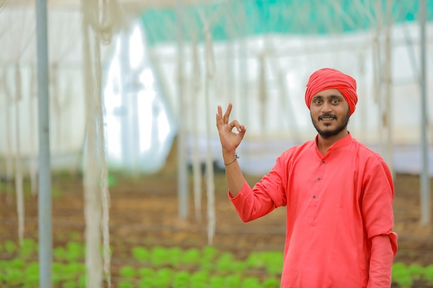 Jeune agriculteur indien à effet de serre ou maison poly