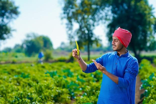 Jeune agriculteur indien tenant un froid vert dans la main au domaine de l'agriculture