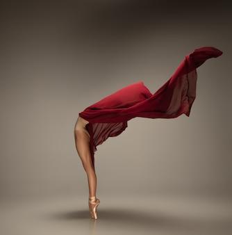 Jeune ballerine tendre gracieuse sur mur pastel