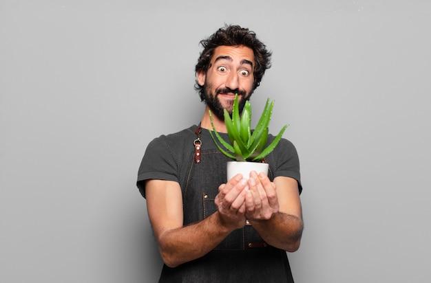 Jeune, barbu, tenue, cactus
