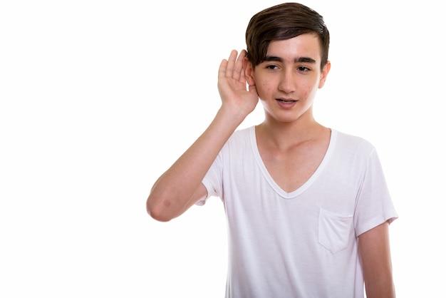 Jeune, beau, adolescent persan, écoute