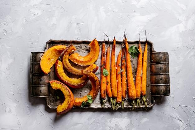 Jeune carotte rôtie et citrouille