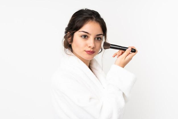 Jeune, caucasien, tenue femme, pinceau maquillage