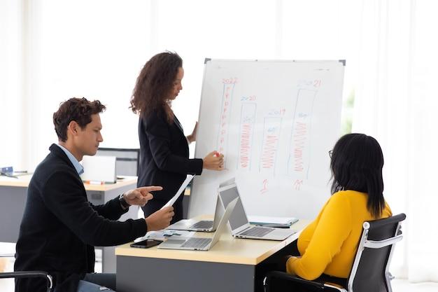 Une jeune conférencière hispanique fait une présentation sur tableau blanc pour divers employés au bureau. concept de leadership d'entreprise.