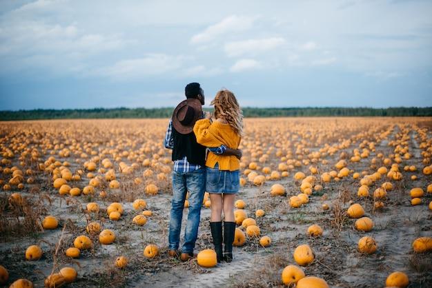 Un jeune couple d'agriculteurs debout dans un champ de citrouilles