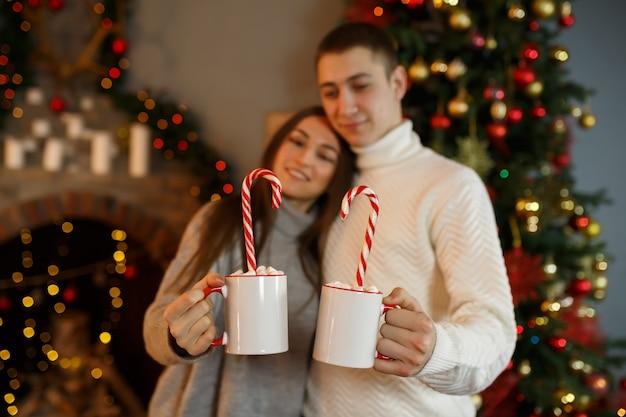 Jeune couple d'amoureux célèbre les vacances du nouvel an à la maison