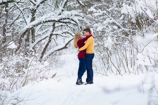 Jeune couple câlins dans la forêt d'hiver