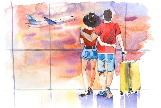 Jeune couple, debout, près, fenêtre, dans, aéroport, avant, embarquement, aquarelle, illustration
