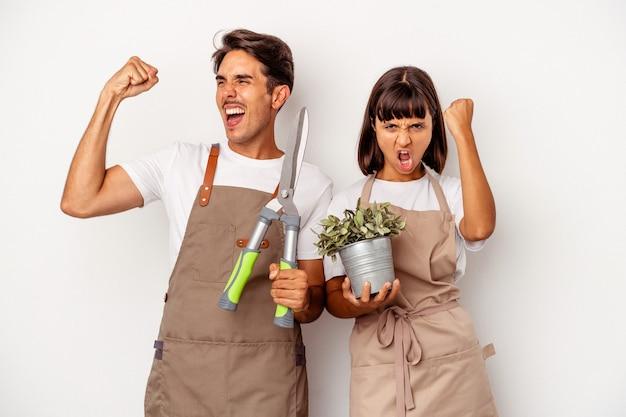 Jeune couple de jardinier métis isolé sur fond blanc levant le poing après une victoire, concept gagnant.