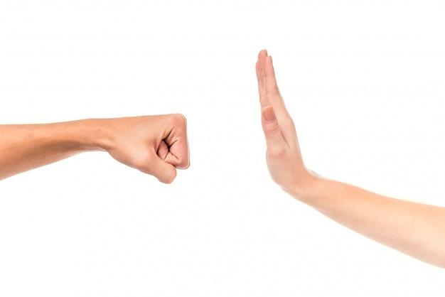 Jeune couple, main, signe, isolé