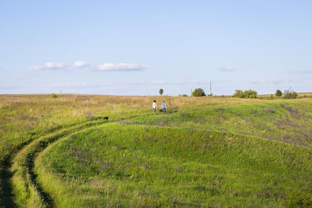 Jeune couple marchant dans le pré, marchant avec des chiens à l'extérieur, beau soleil couchant.