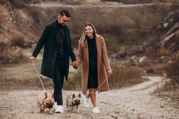 Jeune couple marchant leurs bouledogues français dans le parc