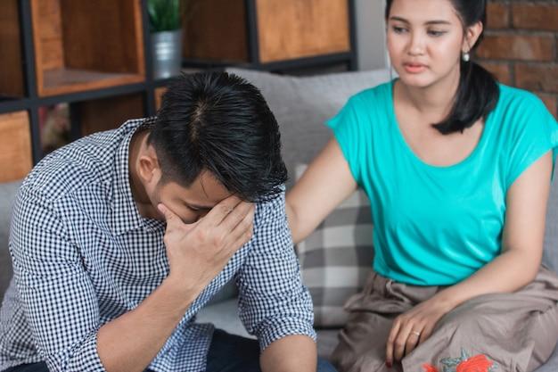 Jeune couple, à, problème