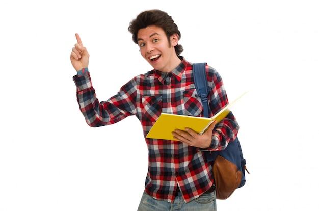 Jeune étudiant isolé sur blanc