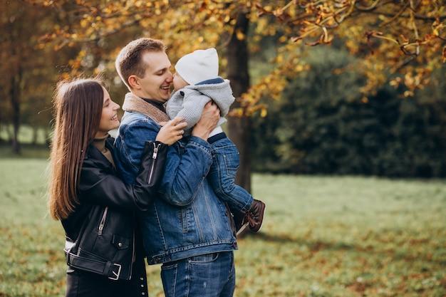 Jeune famille avec bébé dans le parc