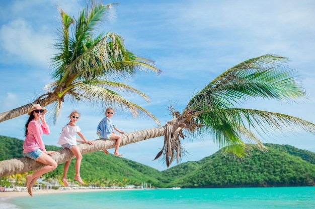 Jeune famille en vacances s'amuse beaucoup sur palmier